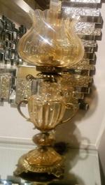 چراغ حباب گوی کریستال عسلی